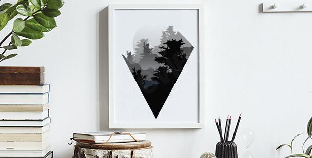 Póster minimalista con montañas