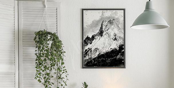 Póster montañas en blanco y negro