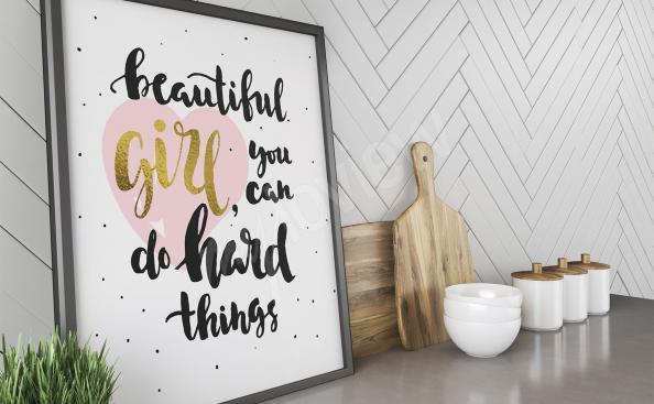 Póster motivacional cita para chicas