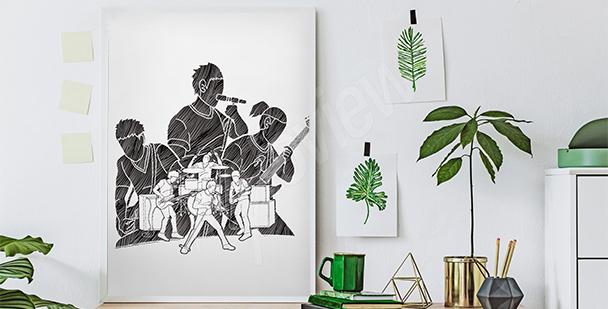 Póster músicos en blanco y negro
