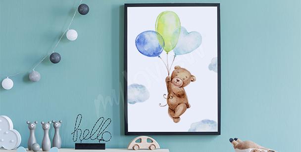 Póster oso de peluche y globos