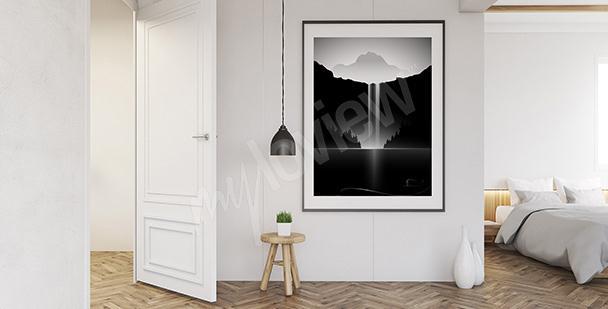 Póster paisaje en blanco y negro