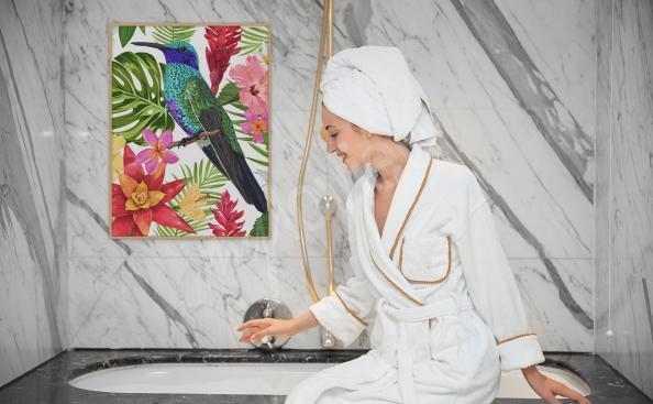 Póster para baño ave tropical