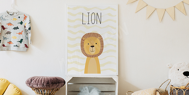 Póster para la habitación de un niño - león