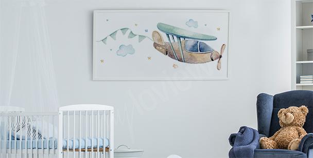 Póster para la habitación de un niño y avión