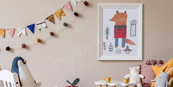 Póster para la habitación de un niño y zorro