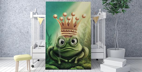 Póster rana con una corona