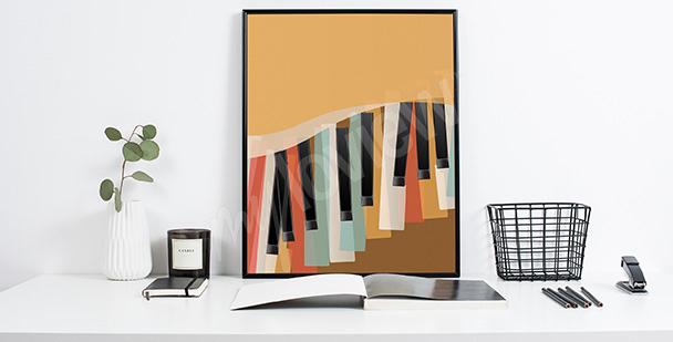 Póster retro teclas de piano