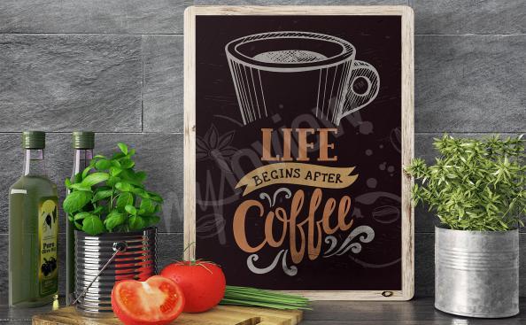Póster taza de café para la cocin