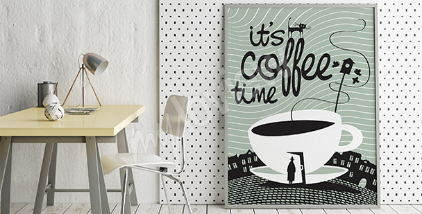 Póster tiempo para un café