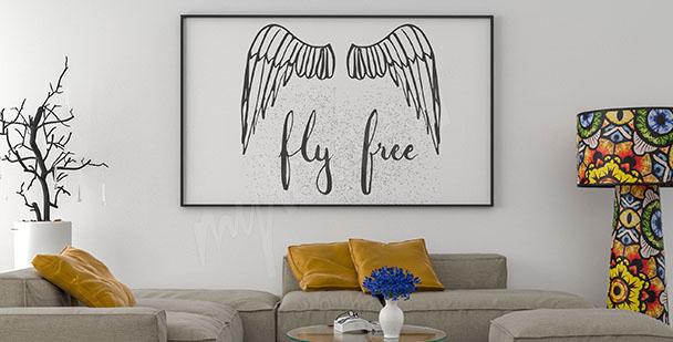Póster tipográfico alas de ángel