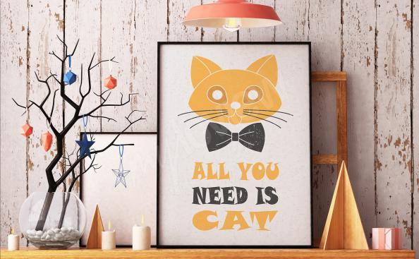 Póster tipográfico con un gato