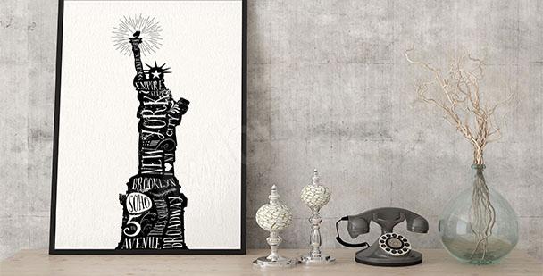 Póster tipográfico Estatua de la Libertad