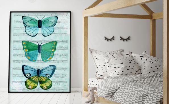 Póster tres mariposas