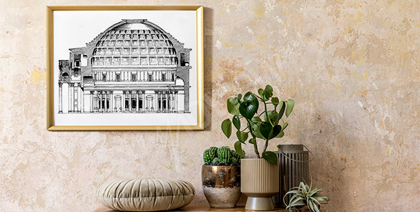 Póster vintage con el Panteón