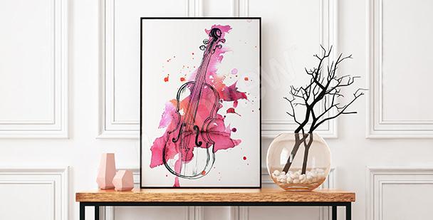 Póster violín en acuarela rosa