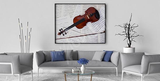 Póster violín y notas para el salón