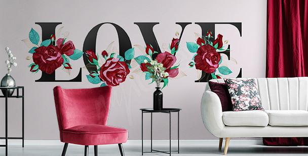 Romántico fotomural tipográfico