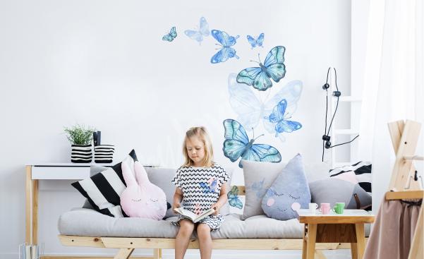 Vinilo azul mariposas