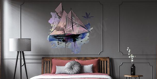 Vinilo barco de vela acuarela