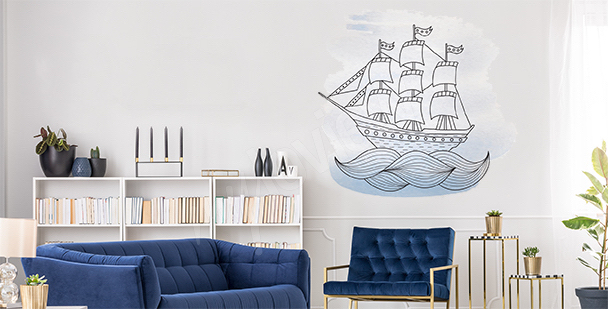 Vinilo barco en el mar
