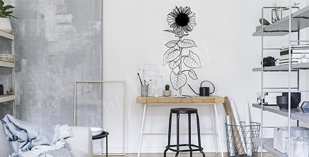 Vinilo blanco y negro con girasol
