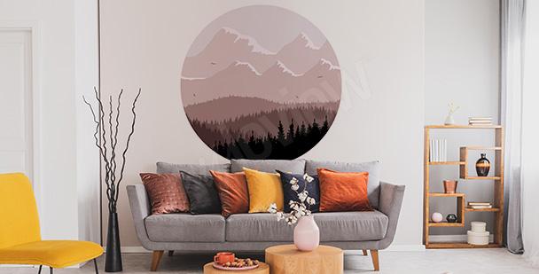 Vinilo bosque en forma de círculo