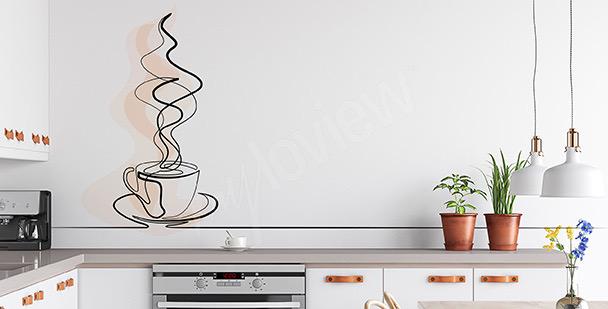 Vinilo café en estilo line art
