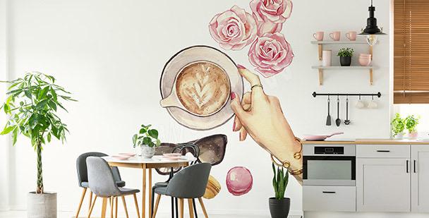 Vinilo café y rosas