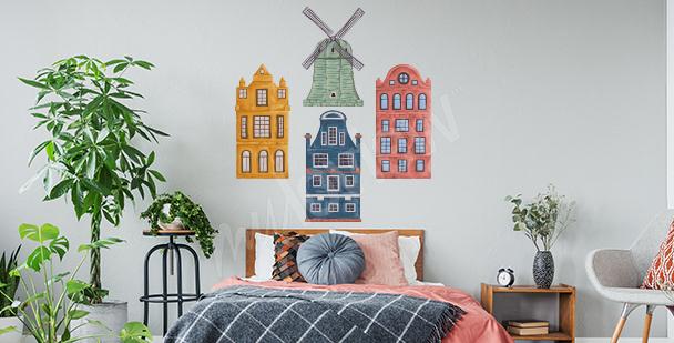 Vinilo casitas coloridas para dormitorios