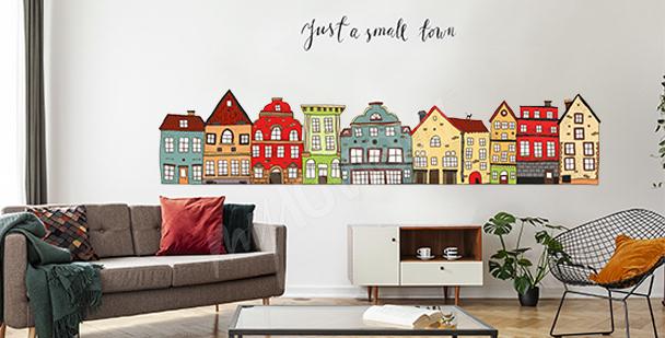 Vinilo casitas coloridas para la sala de estar