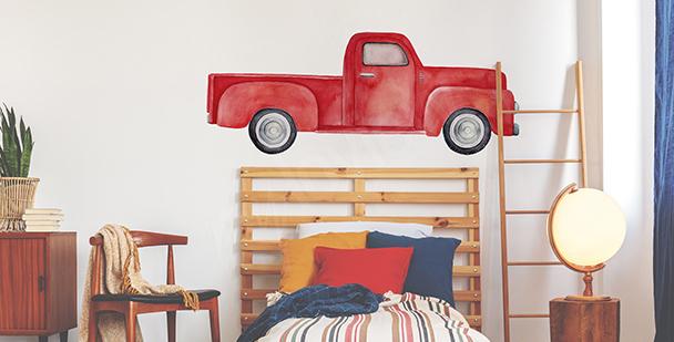 Vinilo coche rojo para dormitorio