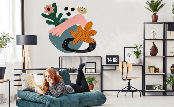 Vinilo colorido abstracción para la sala de estar