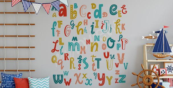 Vinilo con alfabeto latino