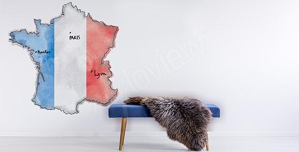 Vinilo con el mapa de Francia