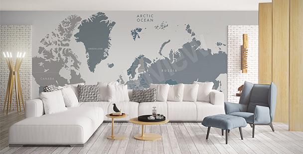Vinilo con mapa para la sala de estar