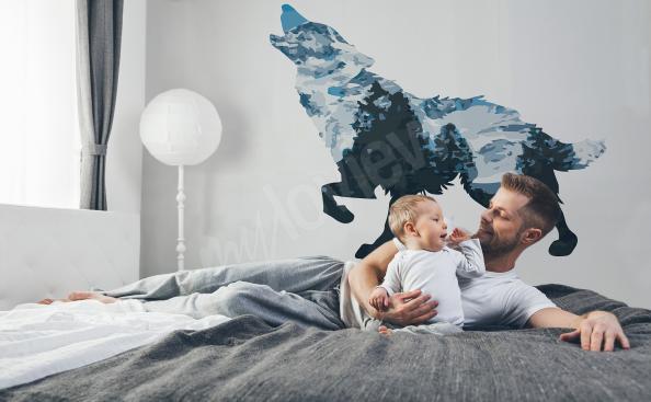 Vinilo con un lobo para dormitorio