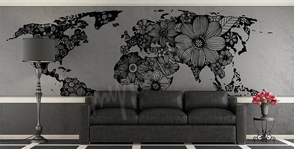 Vinilo con un mapa floral