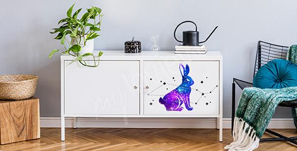 Vinilo cósmico con un conejo