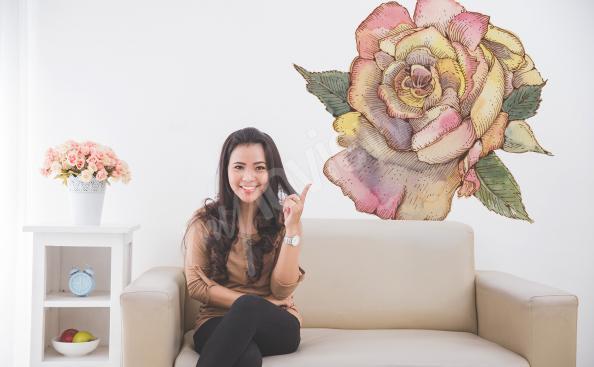 Vinilo de flores para la sala de estar