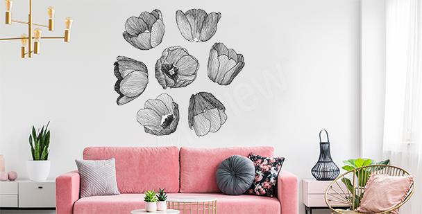 Vinilo en blanco y negro tulipanes