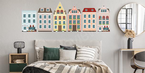 Vinilo europeo casas coloridas