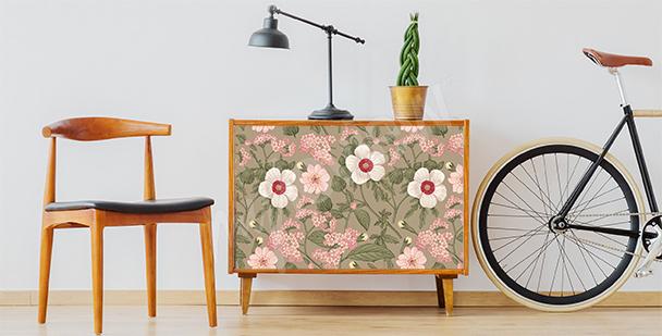 Vinilo floral para armario