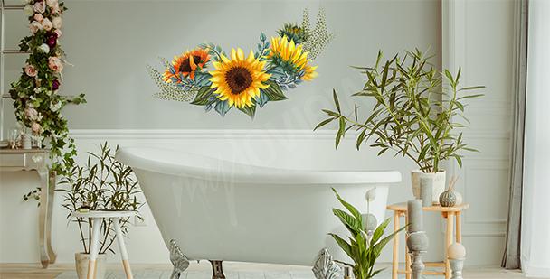 Vinilo floral para baño