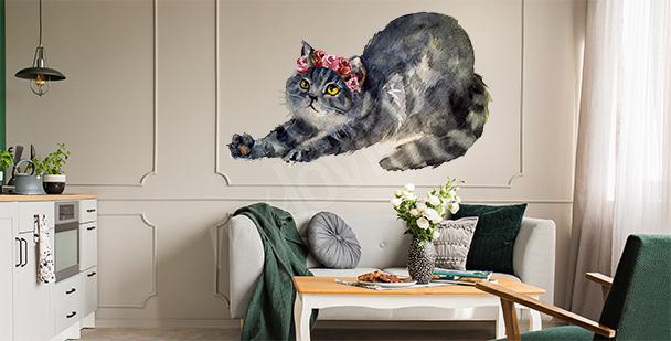 Vinilo gato con flores