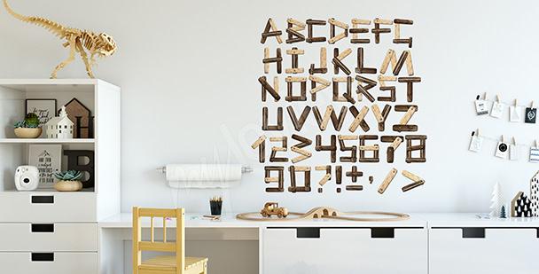 Vinilo imitación de letras de madera