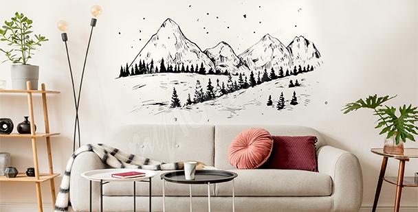 Vinilo invernal con montañas