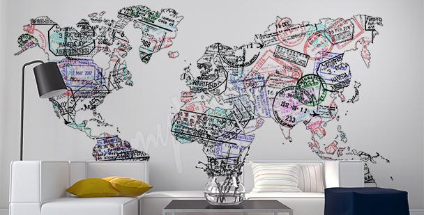 Vinilo mapa de sellos de pasaporte
