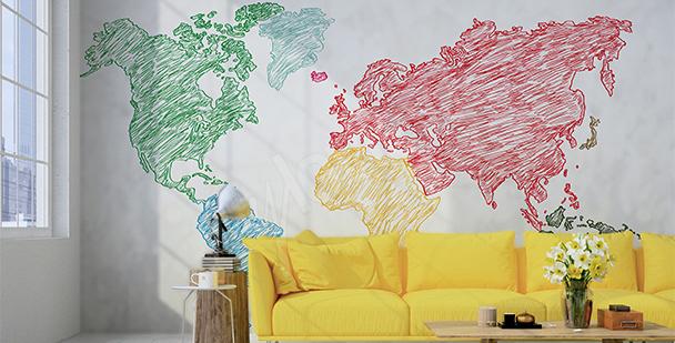 Vinilo mapa dibujado con crayones