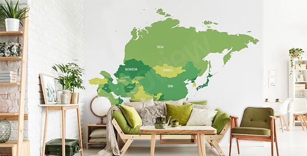 Vinilo mapa político de Asia